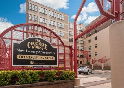 Exterior sign at Chocolate Works apartments located at 231 N. Third St in Philadelphia, PA 19106