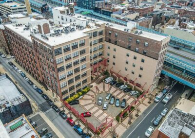 Aerial view of the Chocolate Works Apartments