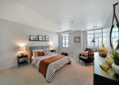 The Metropolitan bedroom, looking at the bed.